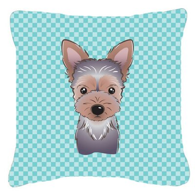 Checkerboard Yorkie Puppy Indoor/Outdoor Throw Pillow Color: Blue, Size: 14 H x 14 W x 4 D