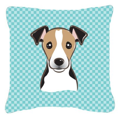Checkerboard Jack Russell Terrier Indoor/Outdoor Throw Pillow Color: Blue, Size: 14