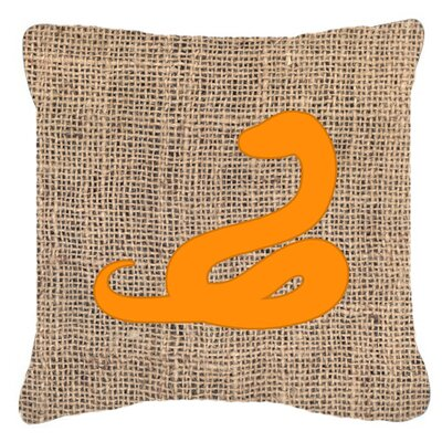 Snake Burlap Indoor/Outdoor Throw Pillow Size: 14 H x 14 W x 4 D, Color: Orange