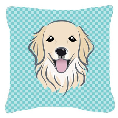 Checkerboard Golden Retriever Indoor/Outdoor Throw Pillow Color: Blue, Size: 14 H x 14 W x 4 D