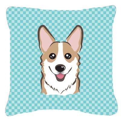 Checkerboard Corgi Indoor/Outdoor Throw Pillow Color: Blue, Size: 14 H x 14 W x 4 D