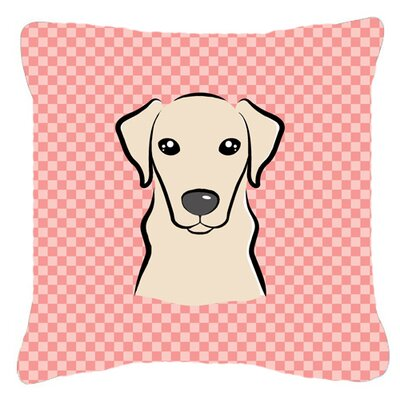 Checkerboard Yellow Labrador Indoor/Outdoor Throw Pillow Color: Pink, Size: 14 H x 14 W x 4 D