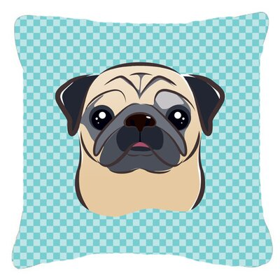 Checkerboard Fawn Pug Indoor/Outdoor Throw Pillow Color: Blue, Size: 14 H x 14 W x 4 D