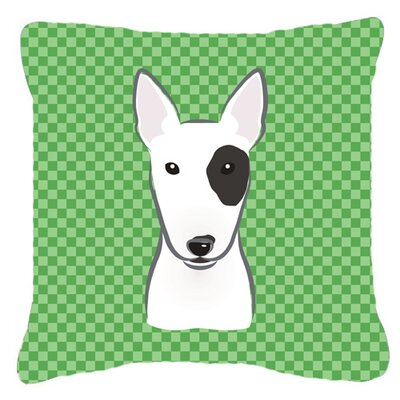 Checkered Bull Terrier Indoor/Outdoor Throw Pillow Size: 18 H x 18 W x 5.5 D