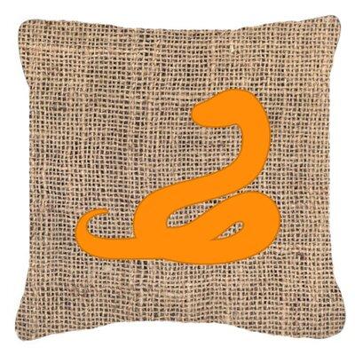 Snake Burlap Indoor/Outdoor Throw Pillow Size: 18 H x 18 W x 5.5 D, Color: Orange
