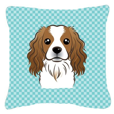 Checkerboard Cavalier Spaniel Indoor/Outdoor Throw Pillow Color: Blue, Size: 14 H x 14 W x 4 D