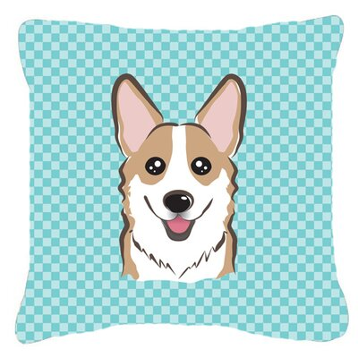 Checkerboard Corgi Indoor/Outdoor Throw Pillow Color: Blue, Size: 18 H x 18 W x 5.5 D