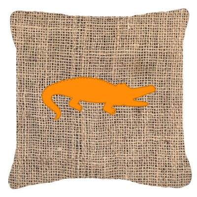 Alligator Burlap Indoor/Outdoor Throw Pillow Size: 18 H x 18 W x 5.5 D, Color: Orange