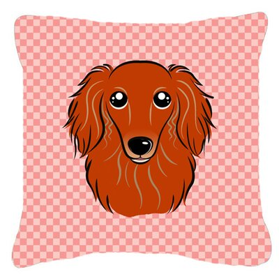 "Checkerboard Longhair Red Dachshund Indoor/outdoor Throw Pillow Size: 14"" H X 14"" W X 4"" D, Color: Pink"