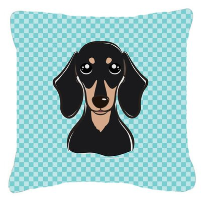 Checkerboard Smooth Black and Tan Dachshund Indoor/Outdoor Throw Pillow Color: Blue, Size: 14 H x 14 W x 4 D