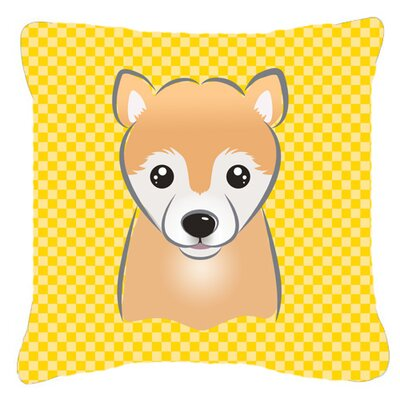 Checkered Shiba Inu Indoor/Outdoor Throw Pillow Size: 14 H x 14 W x 4 D