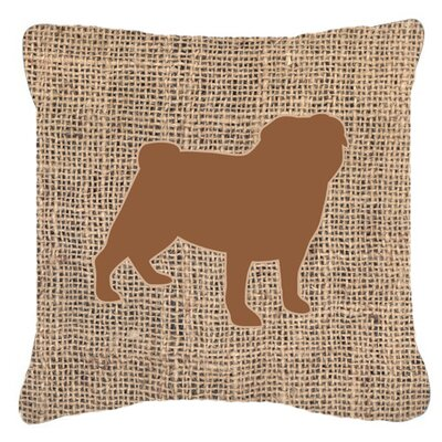 Pug Burlap Indoor/Outdoor Throw Pillow Size: 14 H x 14 W x 4 D, Color: Brown