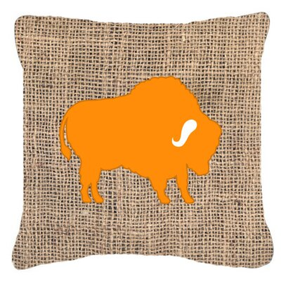 Buffalo Burlap Indoor/Outdoor Throw Pillow Size: 18 H x 18 W x 5.5 D, Color: Orange