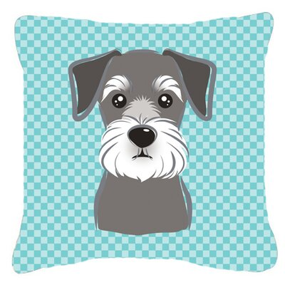 Checkerboard Schnauzer Indoor/Outdoor Throw Pillow Size: 14 H x 14 W x 4 D, Color: Blue