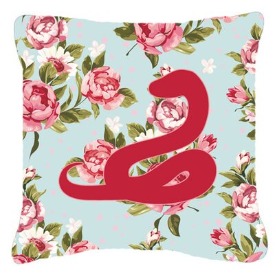 Snake Shabby Elegance Blue Roses Indoor/Outdoor Throw Pillow Size: 14 H x 14 W x 4 D