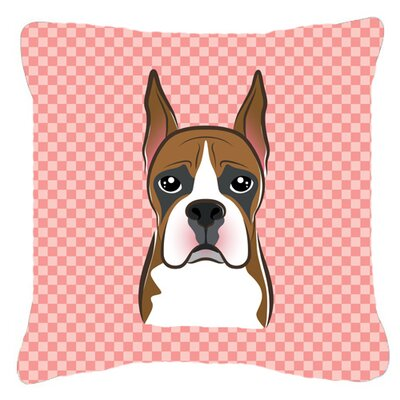 Checkerboard Boxer Indoor/Outdoor Throw Pillow Color: Pink, Size: 14 H x 14 W x 4 D