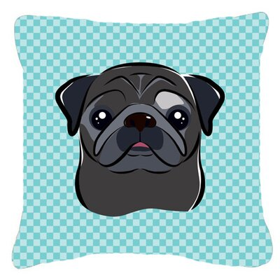 Checkerboard Black Pug Indoor/Outdoor Throw Pillow Size: 14 H x 14 W x 4 D, Color: Blue