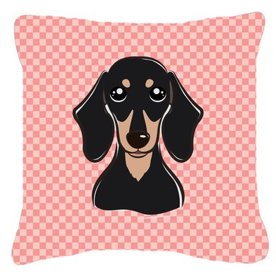 Checkerboard Smooth Black and Tan Dachshund Indoor/Outdoor Throw Pillow Color: Pink, Size: 14 H x 14 W x 4 D