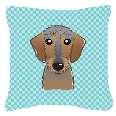 Checkerboard Wire Haired Dachshund Indoor/Outdoor Throw Pillow Color: Blue, Size: 18 H x 18 W x 5.5 D