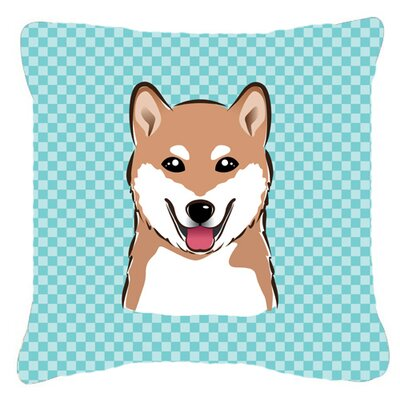 Checkerboard Shiba Inu Indoor/Outdoor Throw Pillow Color: Blue, Size: 14 H x 14 W x 4 D