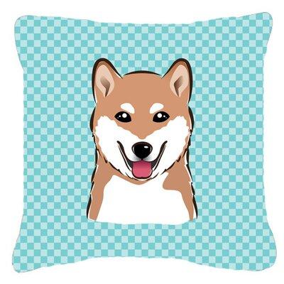 Checkerboard Shiba Inu Indoor/Outdoor Throw Pillow Color: Blue, Size: 14