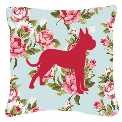 Boxer Shabby Elegance Blue Roses Indoor/Outdoor Throw Pillow Size: 14 H x 14 W x 4 D
