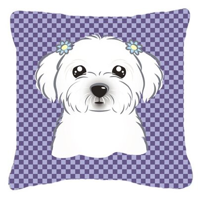 Checkered Maltese Indoor/Outdoor Throw Pillow Size: 14 H x 14 W x 4 D