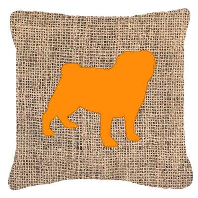 Pug Burlap Indoor/Outdoor Throw Pillow Size: 14 H x 14 W x 4 D, Color: Orange