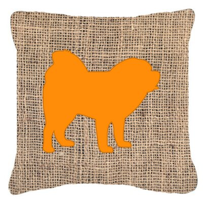 Chow Chow Burlap Indoor/Outdoor Throw Pillow Size: 14 H x 14 W x 4 D, Color: Orange