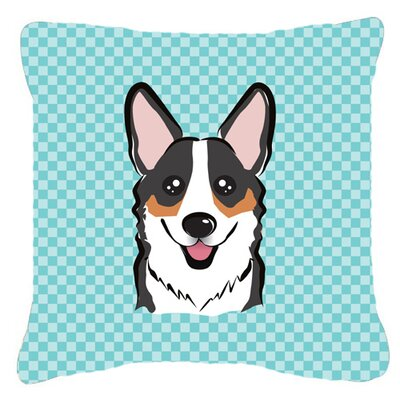 Checkerboard Corgi Indoor/Outdoor Throw Pillow Color: Blue, Size: 14 H x 14 W x 4 D