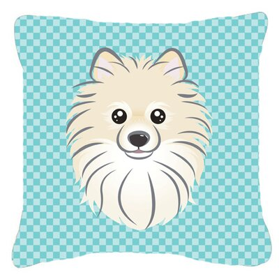 Checkerboard Pomeranian Indoor/Outdoor Throw Pillow Color: Blue, Size: 14 H x 14 W x 4 D