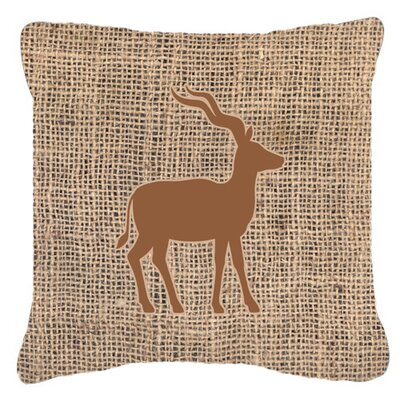 Deer Burlap Indoor/Outdoor Throw Pillow Size: 14 H x 14 W x 4 D, Color: Brown