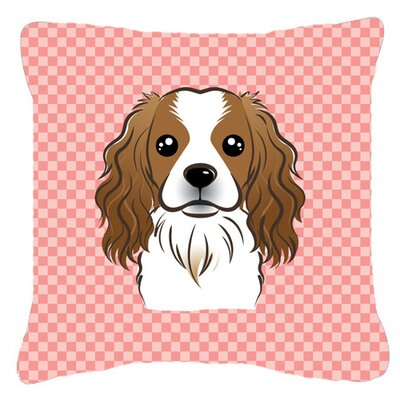 Checkerboard Cavalier Spaniel Indoor/Outdoor Throw Pillow Color: Pink, Size: 14 H x 14 W x 4 D