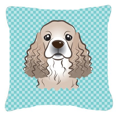 Checkerboard Cocker Spaniel Indoor/Outdoor Throw Pillow Color: Blue, Size: 18 H x 18 W x 5.5 D