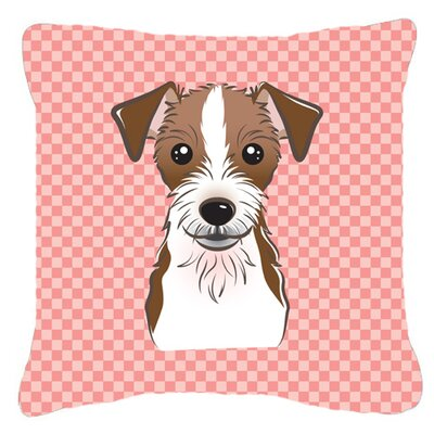 Checkerboard Jack Russell Terrier Indoor/Outdoor Throw Pillow Color: Pink, Size: 14 H x 14 W x 4 D