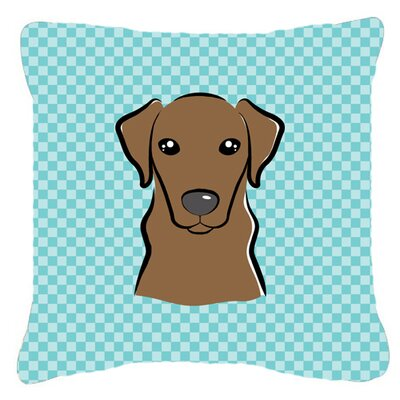 Checkerboard Chocolate Labrador Indoor/Outdoor Throw Pillow Color: Blue, Size: 14 H x 14 W x 4 D