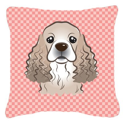 Checkerboard Cocker Spaniel Indoor/Outdoor Throw Pillow Color: Pink, Size: 14 H x 14 W x 4 D
