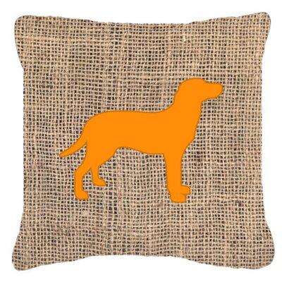 Labrador Burlap Indoor/Outdoor Throw Pillow Size: 18 H x 18 W x 5.5 D, Color: Orange