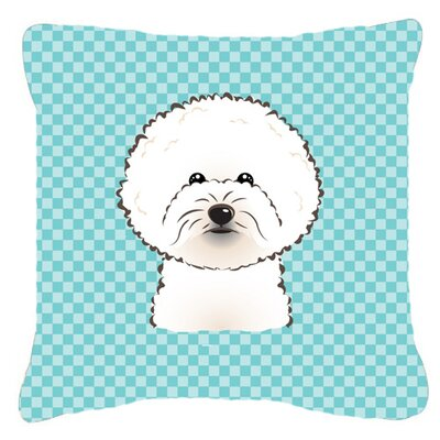 Checkerboard Bichon Frise Indoor/Outdoor Throw Pillow Color: Blue, Size: 14 H x 14 W x 4 D