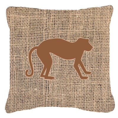 Monkey Burlap Indoor/Outdoor Throw Pillow Size: 14 H x 14 W x 4 D, Color: Brown