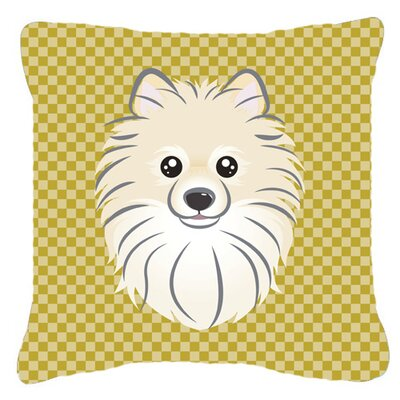 Tan Checkered Pomeranian Indoor/Outdoor Throw Pillow Size: 14 H x 14 W x 4 D