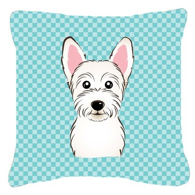 Checkerboard Westie Indoor/Outdoor Throw Pillow Color: Blue, Size: 14 H x 14 W x 4 D