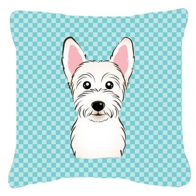 Checkerboard Westie Indoor/Outdoor Throw Pillow Size: 14 H x 14 W x 4 D, Color: Blue