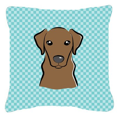 Checkerboard Chocolate Labrador Indoor/Outdoor Throw Pillow Color: Blue, Size: 18 H x 18 W x 5.5 D