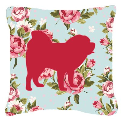 Chow Chow Shabby Elegance Blue Roses Indoor/Outdoor Throw Pillow Size: 14 H x 14 W x 4 D