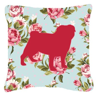 Pug Shabby Elegance Blue Roses Indoor/Outdoor Throw Pillow Size: 14 H x 14 W x 4 D