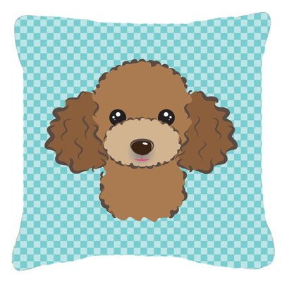 Checkerboard Chocolate Brown Poodle Indoor/Outdoor Throw Pillow Color: Blue, Size: 14 H x 14 W x 4 D
