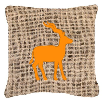 Deer Burlap Indoor/Outdoor Throw Pillow Size: 14 H x 14 W x 4 D, Color: Orange
