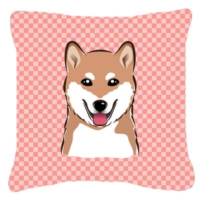 Checkerboard Shiba Inu Indoor/Outdoor Throw Pillow Color: Pink, Size: 14 H x 14 W x 4 D