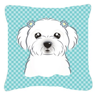 Checkerboard Maltese Indoor/Outdoor Throw Pillow Color: Blue, Size: 14 H x 14 W x 4 D